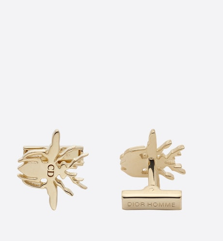 Bee cufflinks in vermeil front view
