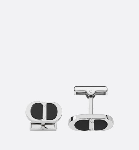 CD ICON cufflinks in silver and resin front view