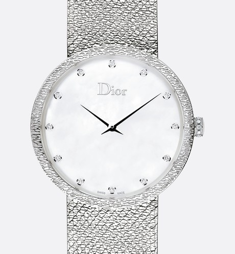 La D de Dior Satine ? 36 mm, quartz movement front view