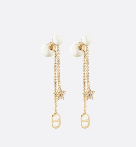 White Resin Pearl and Crystal Dior Tribales Gold-Finish Earrings front view