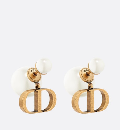 White Resin Pearl Dior Tribales Antique Gold-Finish Earrings front view