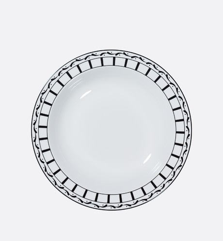 Black and white striped deep round platter front view