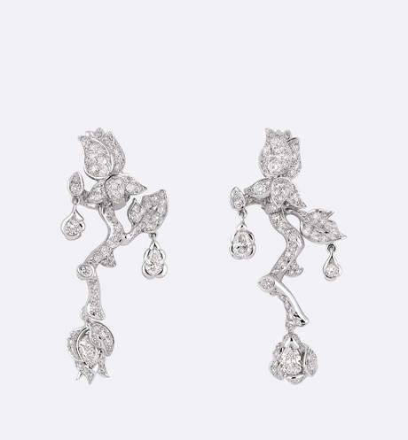 Large Rose Dior Bagatelle Earrings front view