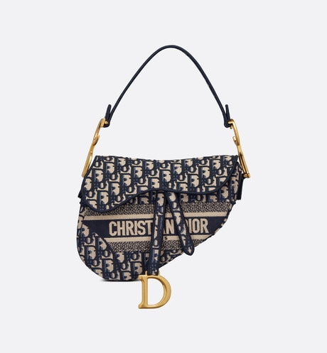 Blue Saddle Original Dior Oblique Embroidered Canvas Bag front view