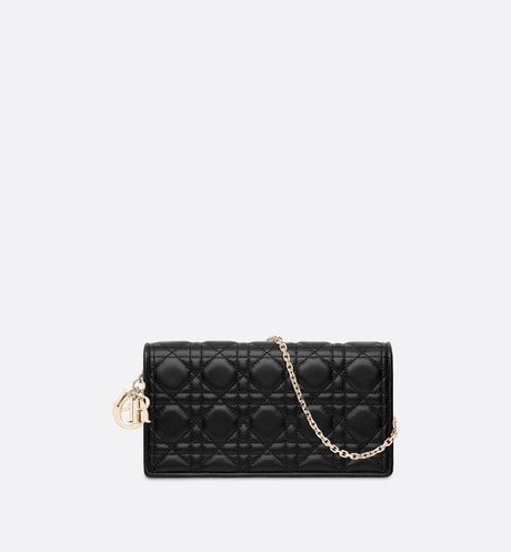 Lady Dior lambskin clutch front view