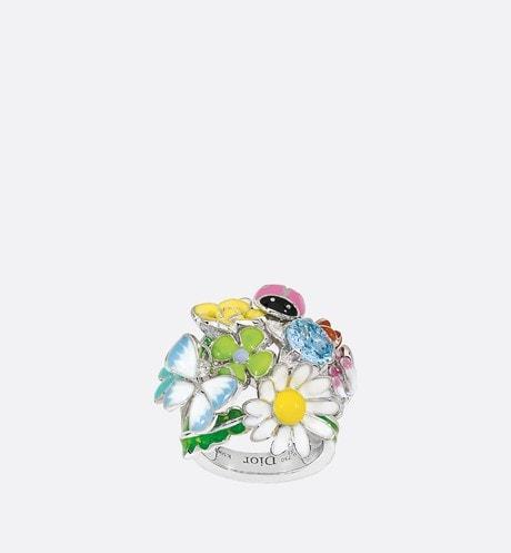 Diorette 750/1000白金戒指,鑲嵌海藍寶石,中號 aria_frontView